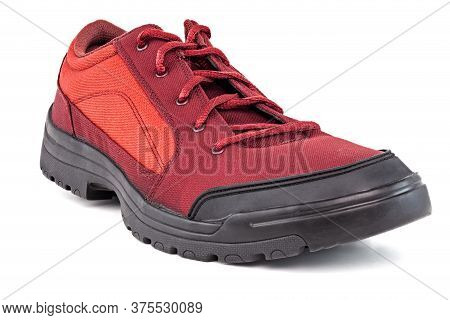 One Right Cheap Red Fabric Hiking Or Hunting Shoe Isolated On White Background