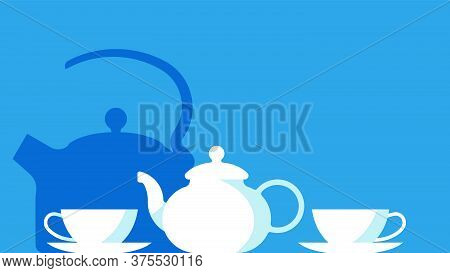 Tea Party.set Of Porcelain Tableware: Teapot, Cups, Saucers. Vector Illustration With A Copy Space.
