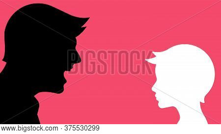 Father Scolding His Son. Silhouettes Of Parent And Child. Education, Punishment, Suppression, Abuse,
