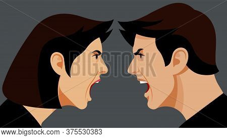 Yelling People. An Argument Between A Man And A Woman. Close-up Male Face And Female Face. Spock, Co