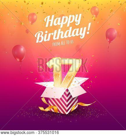 Celebrating 17 Th Years Birthday Vector Illustration. Seventeen-anniversary Celebration. Teen Birth