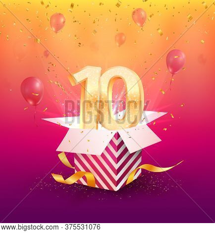 10 Years Anniversary Vector Banner Template. Tenth-year Jubilee With Red Ribbon And Confetti On A Br