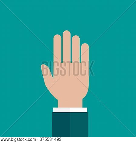 Hand Points Up Isolated On Turquoise Background. Vote, Point, Show.