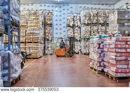 St. Petersburg, Russia - October 10, 2016: Cold Storage, Grocery Warehouse For Storing Perishable Me