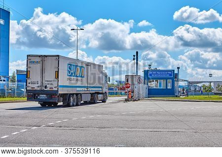 St. Petersburg, Russia - July 27, 2017: Checkpoint At The Customs Terminal. A Truck With A Trailer B