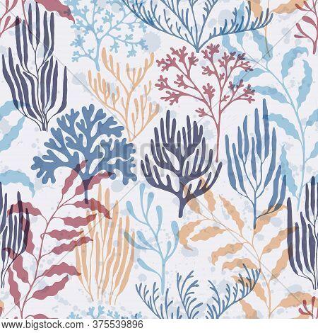 Coral Polyps Seamless Pattern. Kelp Laminaria Seaweed Algae Background. Sea Reef Nature Pattern. Und