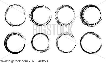 Set Of Isolated Black Grunge Textured Ink Brush Round Frames. Dirty Hand Drawn Inky Line Circles Col