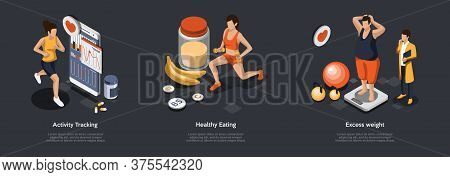 Concept Of Leading Healthy Lifestyle. Characters Monitor Of Health Performance, Eating Healthy Meal,