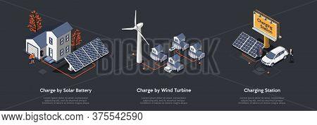 Concept Of Eco City. People Use Alternative Energy Sources. Friendly Renewable Energy Saving. Solar