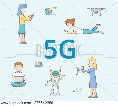 5g Network Generation Concept. People Use 5g Internet. 5g Network Wireless Hi Speed Internet Wi-fi C
