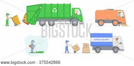 Urban Services Concept. Workers Collect Garbage And Loading It Into Garbage Truck, Clean Street Usin