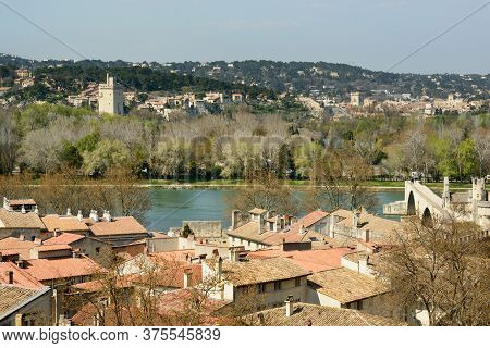 View Of Villeneuve-les-avignon Commune And Tower Of Philip The Fair Across Phone River From Avignon,