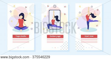 Yoga Fitness And Healthy Lifestyle Concept Vector Illustration, Template For Stretching Lesson Landi