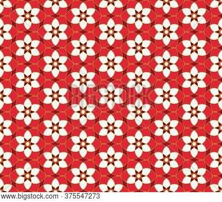 Geometric Mosaic Background Red And Gold Kaleidoscope. Oriental Ornament. Christmas Seamless Lace Pa