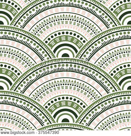 Gypsy Circular Shapes Tile Design Vector Seamless Pattern. Folk Motifs Colorful Repeating Scallops.