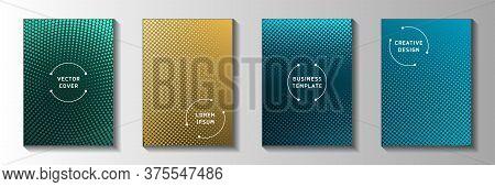 Elegant Circle Screen Tone Gradation Cover Templates Vector Batch. Digital Booklet Faded Screen Tone