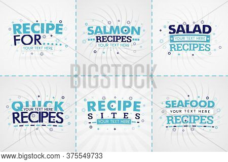 Blue Cooking Book Set For Food And Recipe Magazines. Restaurant Menu Titles Or Badges For Food Store