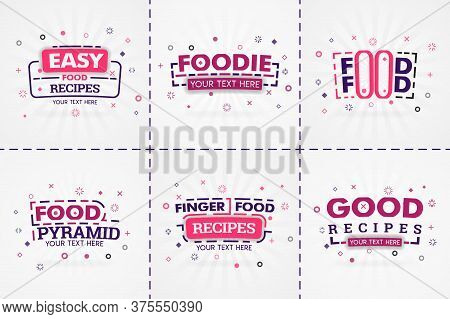 Pink Cooking Book Set For Food And Recipe Magazines. Restaurant Menu Titles Or Badges For Food Store