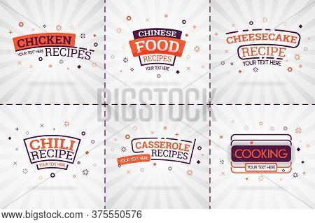 Orange Cooking Book Set For Food And Recipe Magazines. Restaurant Menu Titles Or Badges For Food Sto