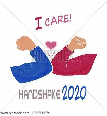 Elbow Bump Handshake, I Core! Quarantine, Social Distance Methods, Coronavirus, Hello 2020 Illustrat