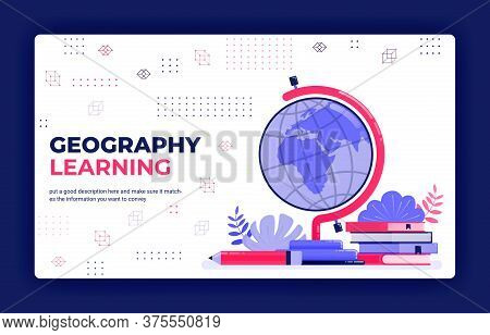 Landing Page Vector Illustration Of Geography Learning. Cartography For Reading Globe, Maps, World A
