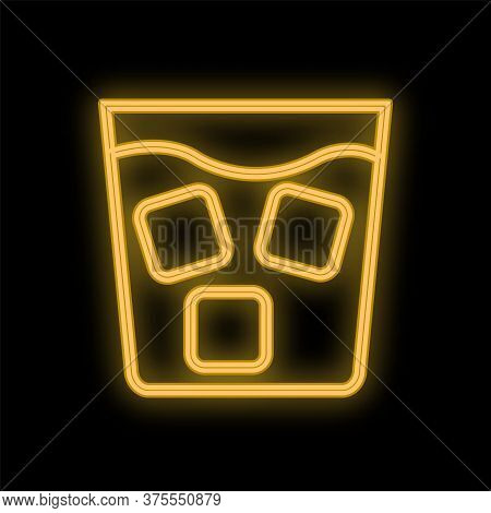 Bright Luminous Yellow Neon Sign For A Cafe Restaurant Bar Pub Beautiful Shiny With A Glass Of Whisk