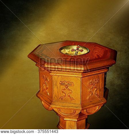 Digitally Created Light Beam On Antique Wooden Baptismal Font With Trinitarian Cross In Basin - Conc