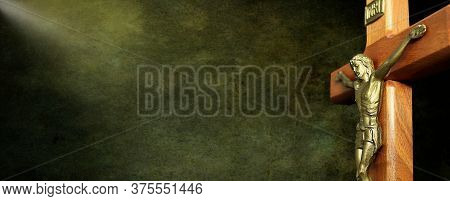 Digitally Created Dark Mottled Background With Light Beam On Wooden Crucifix For Header - Concept Of