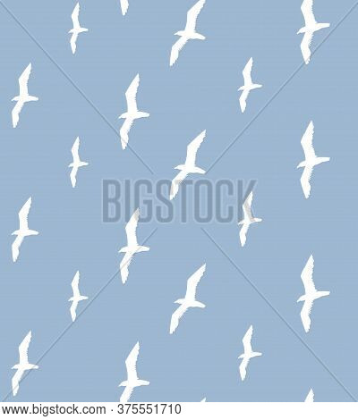 Vector Seamless Pattern Of White Seagull Birds Flock Silhouette Isolated On Blue Background