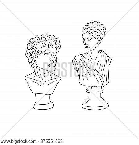 Vector Hand Drawn Doodle Sketch Antique Man And Woman Bust Statue Isolated On White Background