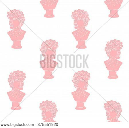 Vector Seamless Pattern Of Pink Hand Drawn Doodle Sketch Antique Man Bust Statue Isolated On White B