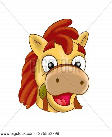 Pony Head Isolated On White Background, Smiling Face, Funny Character, Happy Pony Little Horse Cute