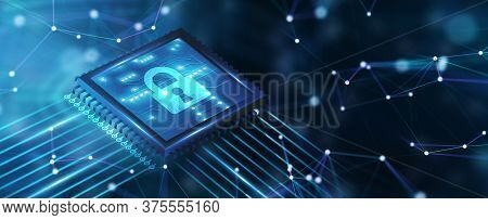Cyber Security Data Protection Business Technology Privacy Concept. 3d Illustration