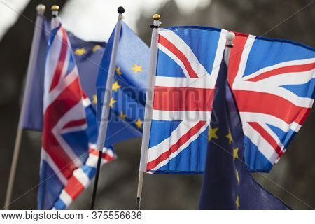 European Union And British Flags Fly Together At An Anti-brexit Political March