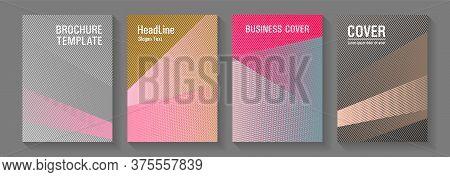 Brochure Cover Layouts Halftone Vector Set. Marketing Brochure Covers Design Set. Futuristic Publica