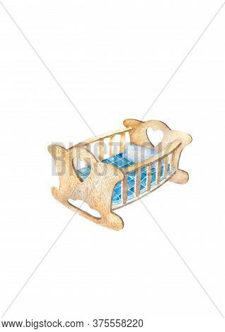 Childrens White Cot Rocking Chair With Handrails, Blue Blanket And Pillow, Top View. Isolated Illust
