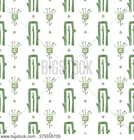 Seamless Patern. Abstract Cactus Tribal Ornaments On White Background. Hand Drawn Watercolor Illustr