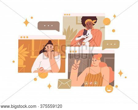Group Of Diverse Female Enjoy Online Meeting Or Web Communication Vector Flat Illustration. Smiling