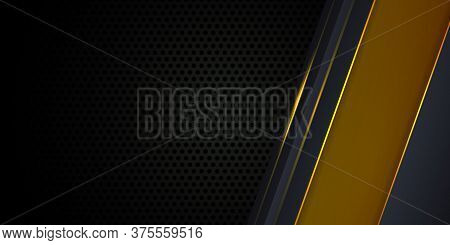 Carbon Fiber Dark Gray Background With Yellow Luminous Lines And Highlights. Modern Futuristic Luxur