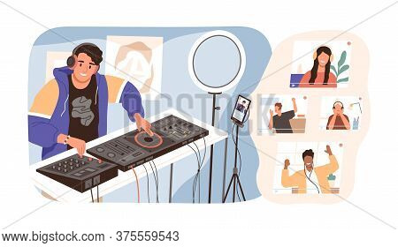 Modern Guy Online Dj Mixing Music At Live Stream Vector Illustration. Smiling Man In Headphones Have