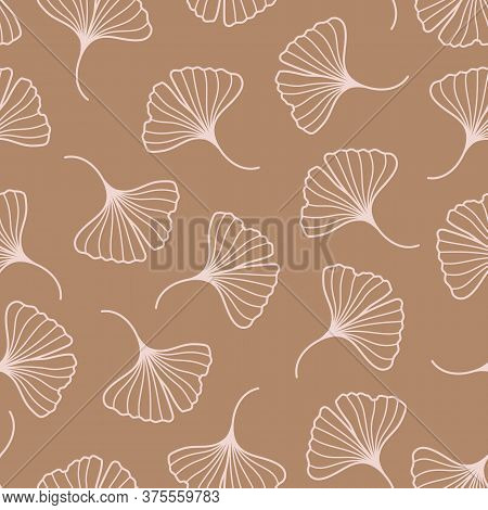 Ginkgo Biloba Leaves Seamless Pattern In A Trendy Minimal Style. Outline Of A Botanical Background.