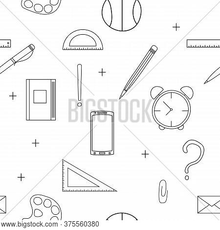 Doodle Hand Drawn Seamless Pattern On A School Theme. White Background With Icon Set School Accessor