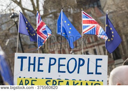 The People Anti Brexit Banner In London Campaigning To Stay In European Union