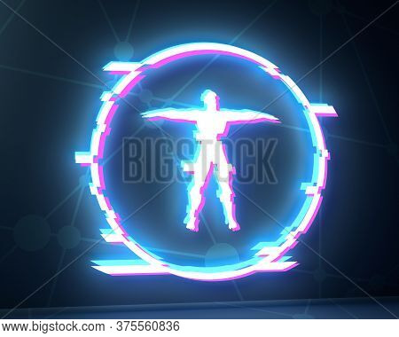 Human Icon In Circle. Medical, Technology, Chemistry And Science Background. Distorted Glitch Style.