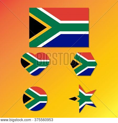 South African Flag In Various Shape Icon Set. Flag Of South Africa In The Shape Of A Rectangle, Hear