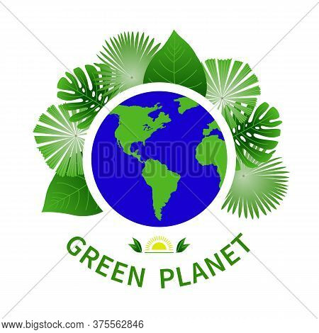 Green Planet Colored Icons Emblem. Analysis Icon Greenpeace Vector Set Elements Modern Abstract Desi