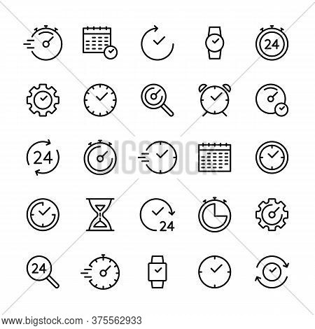 Time And Clock Vector Related Linear Icons Set. Time Management. Calendar, Time, Date, Countdown, Ti