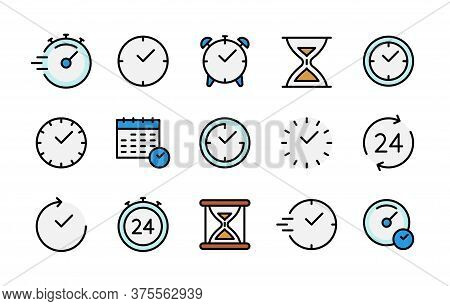 Time And Clock Color Vector Linear Icons Set. Time Management. Timer, Speed, Alarm, Recovery, Time M