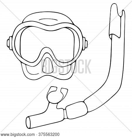 Snorkeling. Sketch. Vector Illustration. Mask And Snorkel For Scuba Diving. Outline On An Isolated W