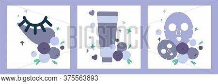 Set Of Three Illustrations With Tube Of Cream, Eye Patches And Masks For Face Skin. Natural Skin Car
